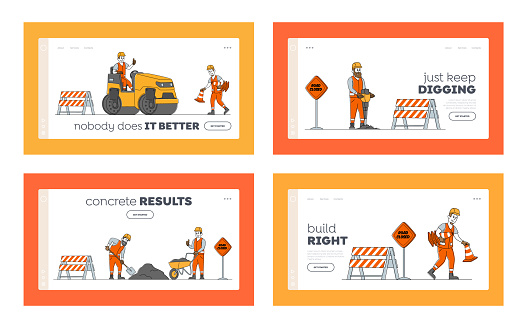 Road Repair Landing Page Template Set. Construction Machines and Working Characters Making Asphalt Maintenance. Rolling Heavy Vehicles Machinery and Warning Signs. Linear People Vector Illustration
