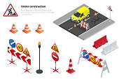 Road repair, under construction road signs. Flat 3d vector isometric illustration.
