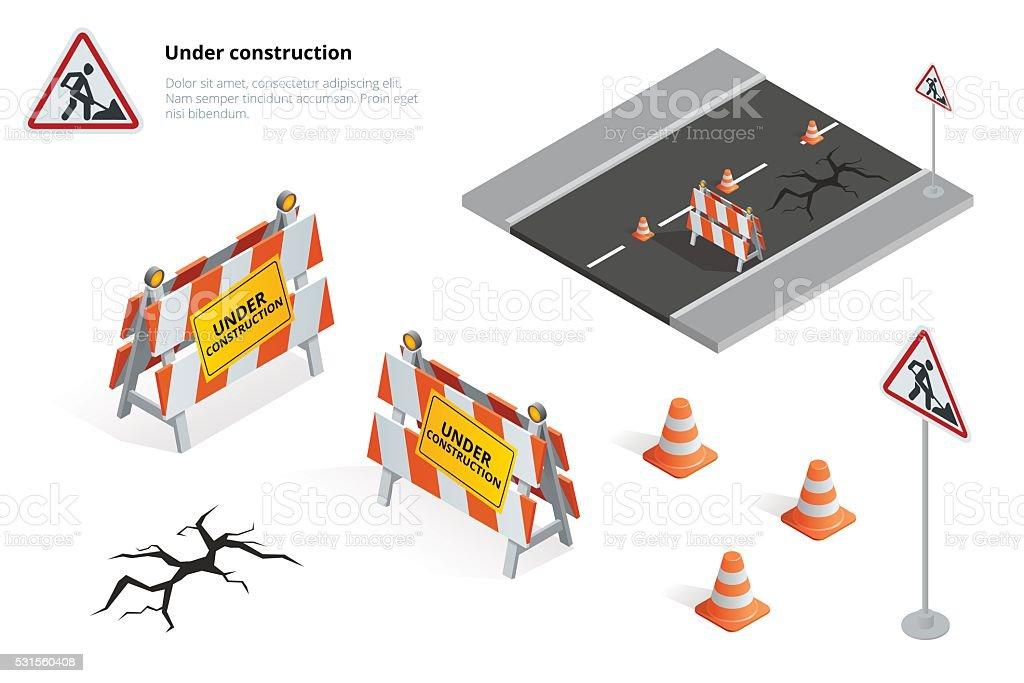 Road repair vector art illustration