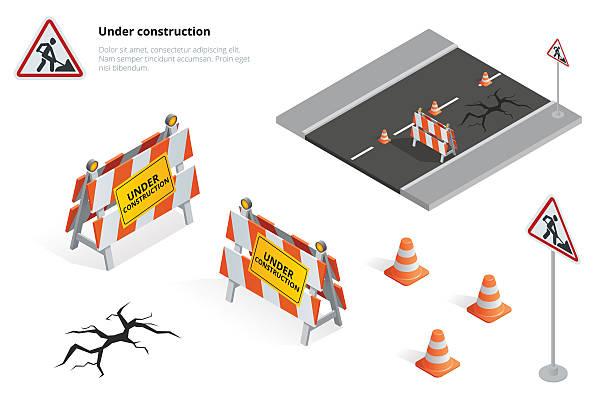 illustrazioni stock, clip art, cartoni animati e icone di tendenza di strada di riparazione - cartello chiuso