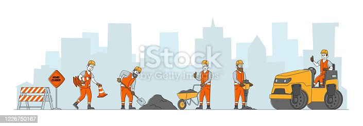 istock Road Repair with Construction Machines and Working People Characters. Rolling Heavy Vehicles Making Asphalt Maintenance. Machinery and Warning Traffic Cones Signs. Linear People Vector Illustration 1226750167