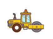 Road roller isolated on white background. Construction icon. Steamroller.