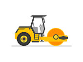 road roller heavy equipment. road roller asphalt compactor. Flat style steamroller Isolated On white clean background. Vector illustration.