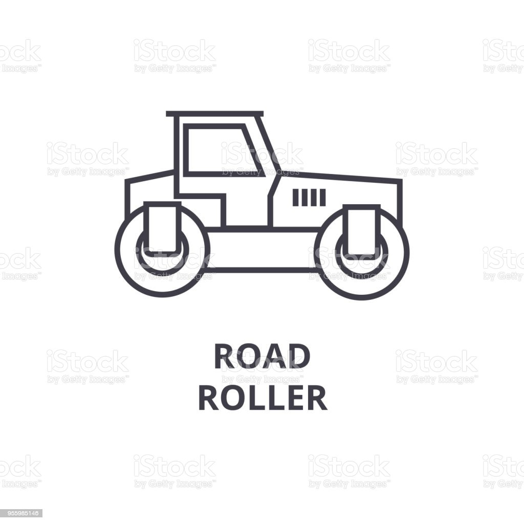 road roller vector line icon, sign, illustration on background, editable strokes vector art illustration
