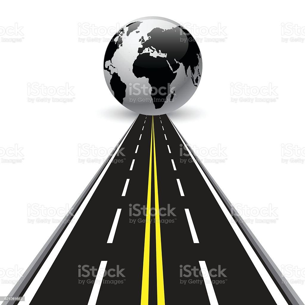 Road round globe on white background vector art illustration
