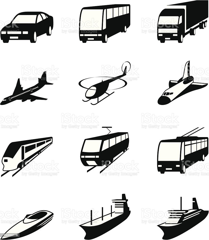 Road, sea and space transportation icons set royalty-free stock vector art