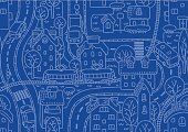Seamless vector background pattern with streets, tram rails, roads, houses and trees