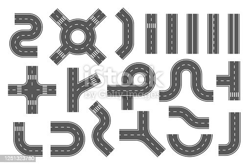 Road segments, parts set. City, town highway, route map creation kit. Way constructor with roundabout, direction, turn, crossroad, intersection elements. Vector collection isolated on white.