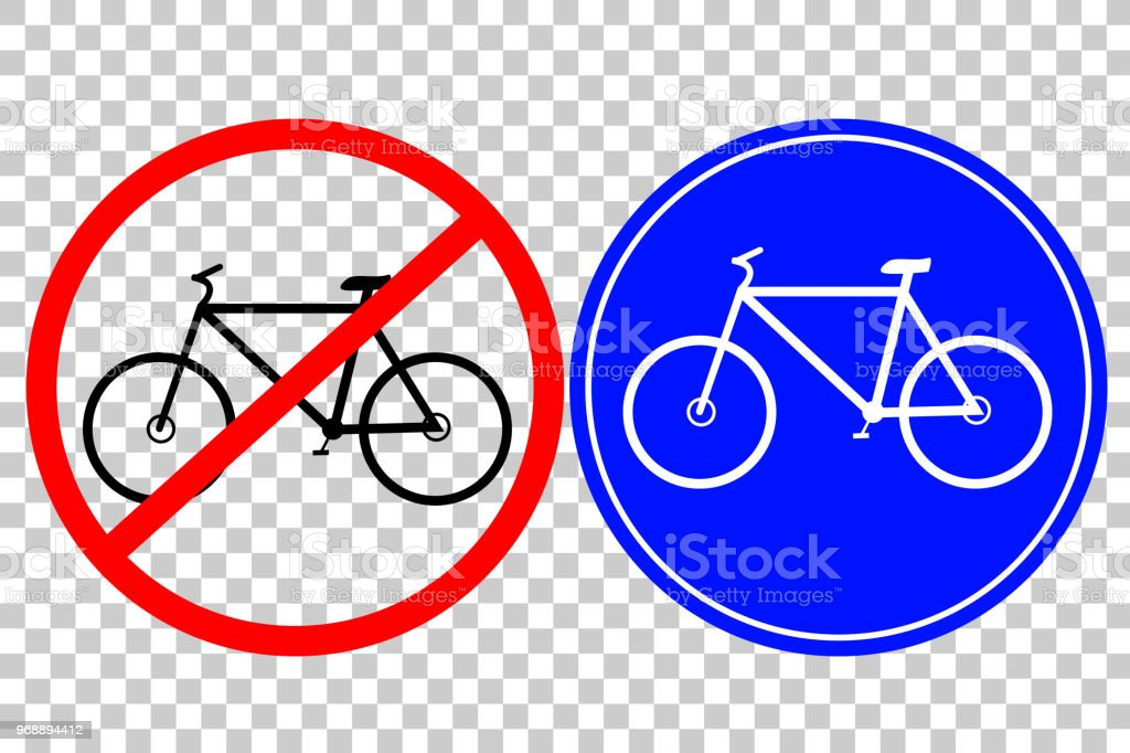 Road Sign - Bike isolated at transparent effect vector art illustration