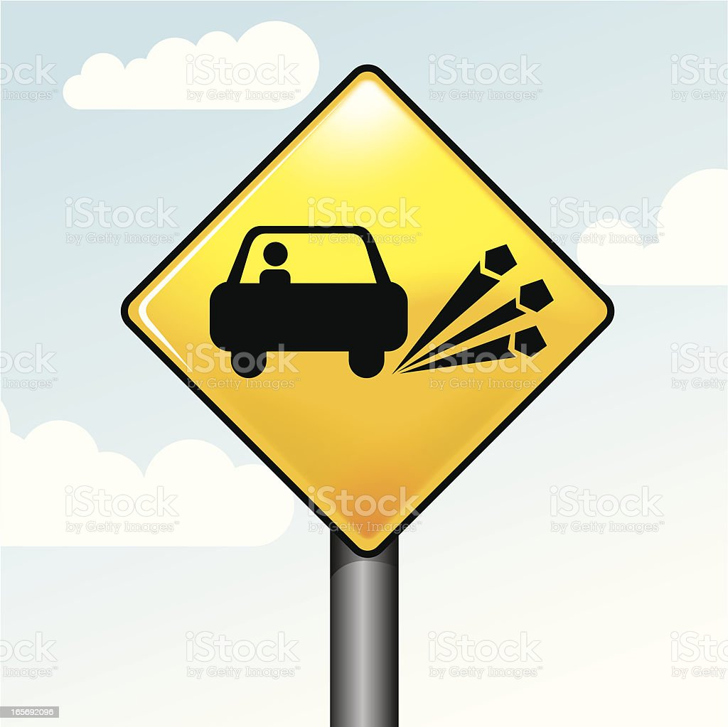 Road Sign - chippings vector art illustration