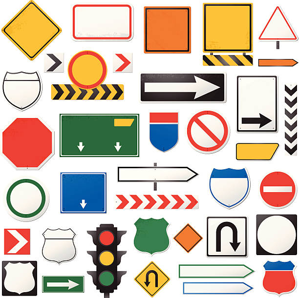Road sign collection vector art illustration