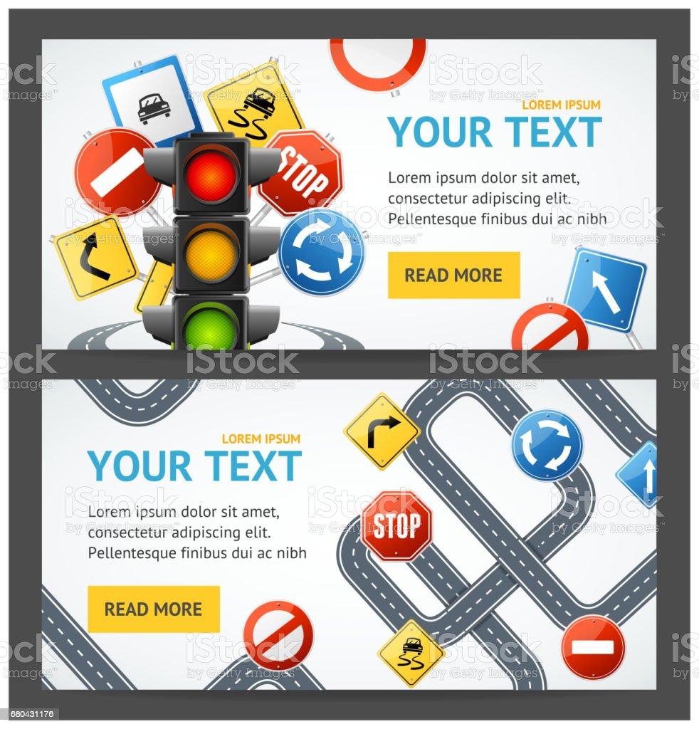 Road Sign Drive School Flyer Banner carteles juego de tarjetas. Vector de - ilustración de arte vectorial