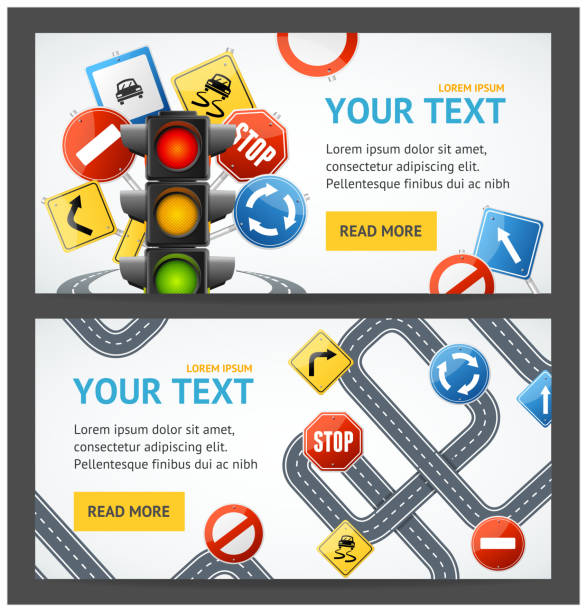 Road Sign Drive School Flyer Banner Posters Card Set. Vector vector art illustration