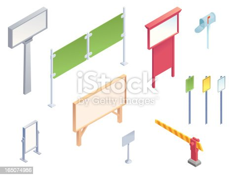 A collection of isometric vector signs and roadway pieces