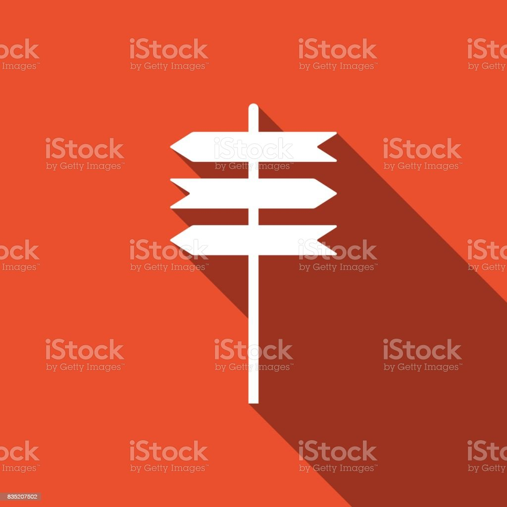 Road sign icon. Signpost flat icon with long shadow. Pointer symbol. Vector Illustration vector art illustration
