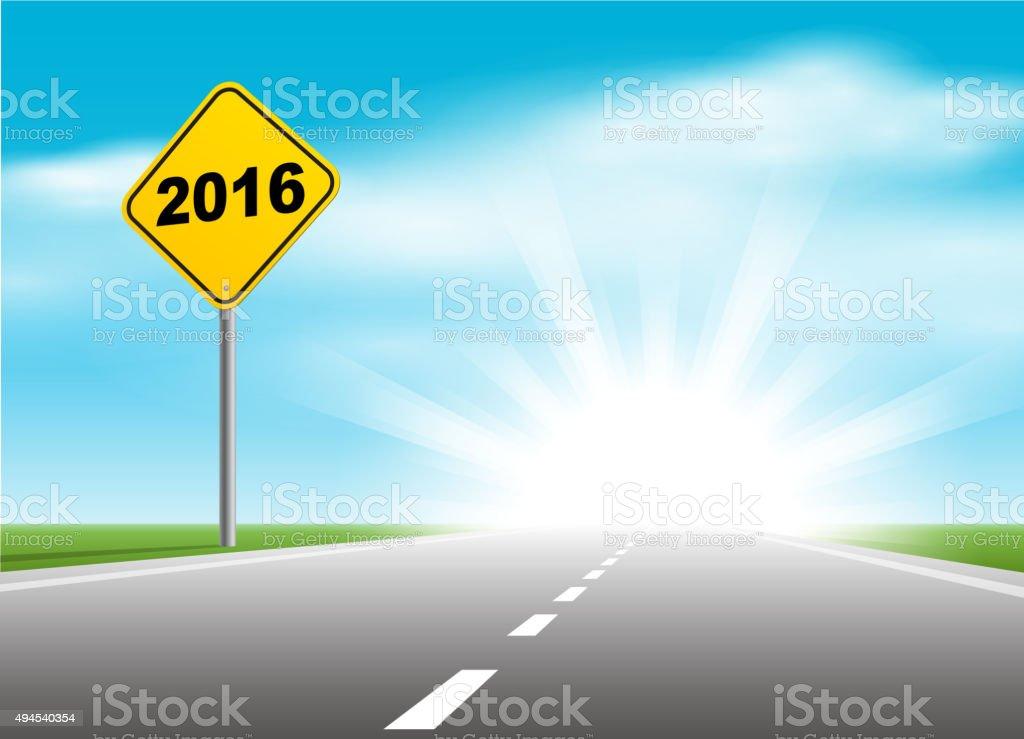 Road sign of 2016 vector art illustration