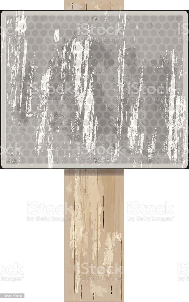 Road Sign on Wood Post | Gray Grunge royalty-free stock vector art