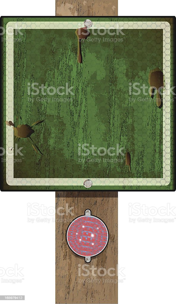 Road Sign on Wood Post | Green Grunge Reflector royalty-free stock vector art
