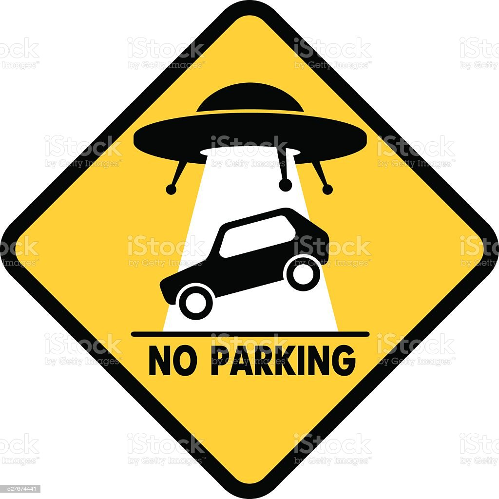 Road Sign UFO Abduction car vector art illustration
