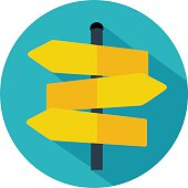 Road sign icon. Flat design vector eps 10
