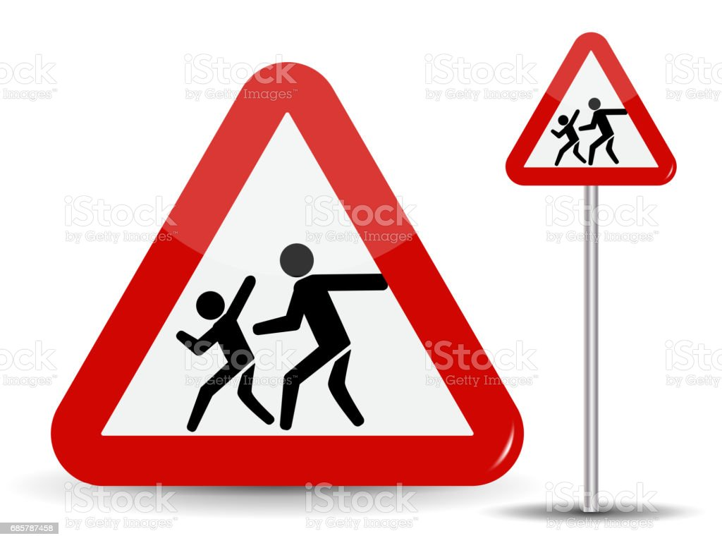 Road sign Warning Children. In the Red Triangle running kids. Vector Illustration royalty-free road sign warning children in the red triangle running kids vector illustration stock vector art & more images of backgrounds