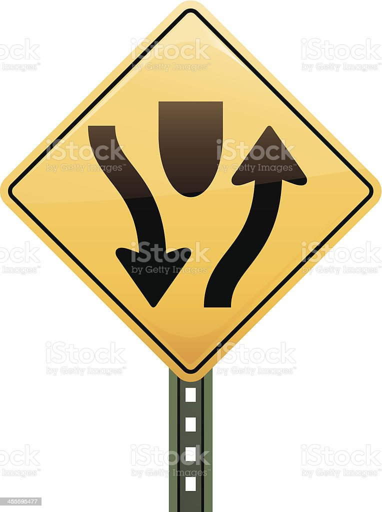 road sign warning of approaching median royalty-free stock vector art