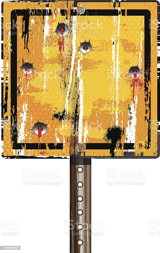 Road Sign Yellow | Grunge Bullet Holes royalty-free stock vector art