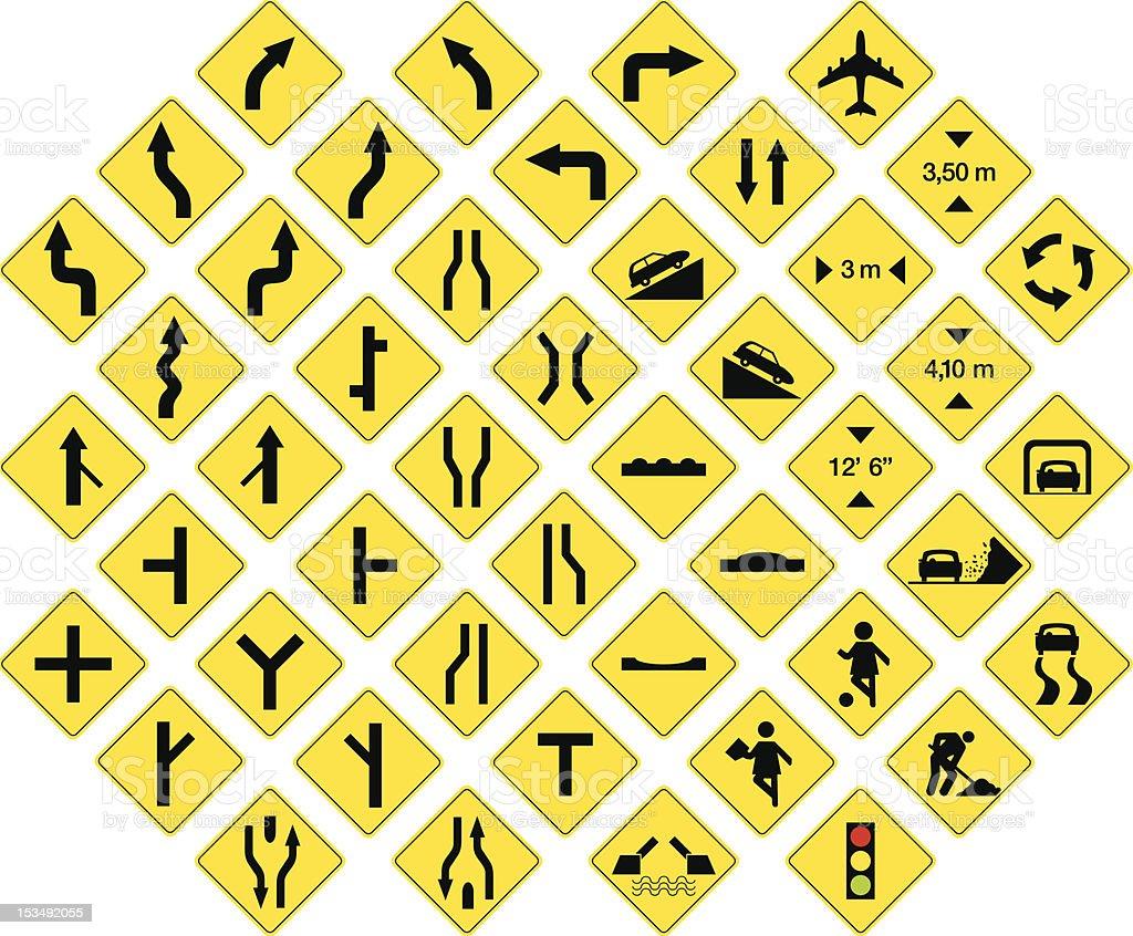 road signs 3 vector art illustration