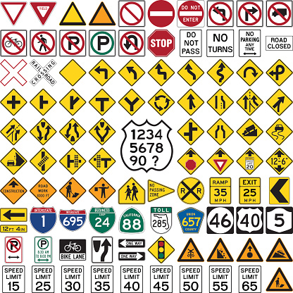 Collection of professionnal road sign and symbols on white