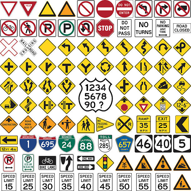 road signs and symbols - signs and symbols stock illustrations