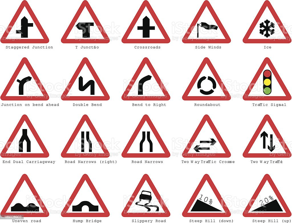 UK road signs: Basic Junctions royalty-free uk road signs basic junctions stock vector art & more images of bicycle