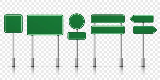 bildbanksillustrationer, clip art samt tecknat material och ikoner med vägskyltar tomma ikoner. vektor vägskyltar gröna plattan mallar för riktning - stock arrow