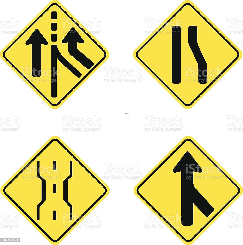 Road Signs Caution Merging Add Lane Stock Vector Art ...