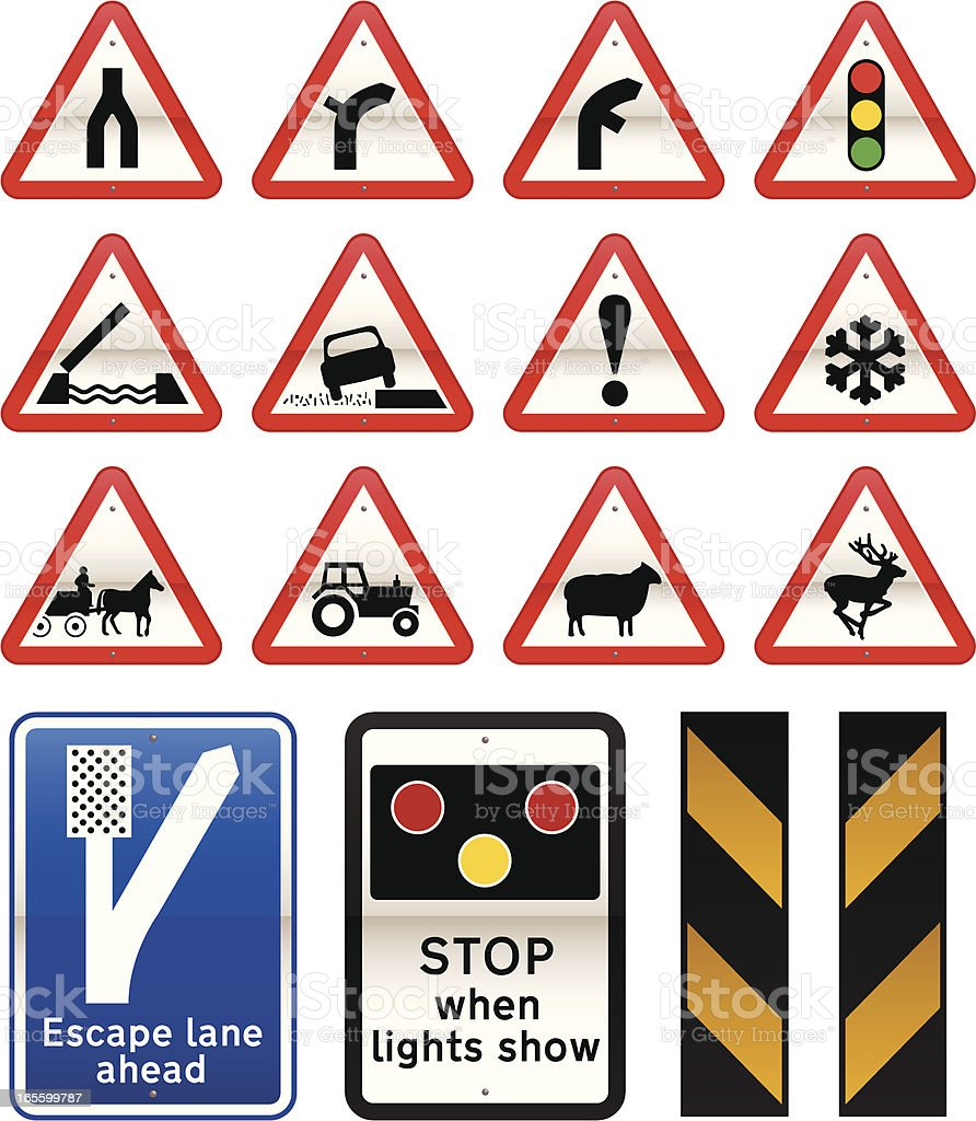 UK Road Signs Cautionary Series SET 3 royalty-free stock vector art