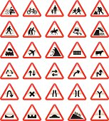 30 different detailed UK Road Signs (Cautionary type Road Signs)