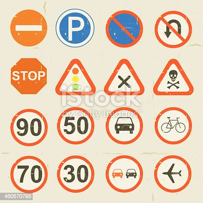 Vector illustration of a set of grunge retro vintage road signs and traffic symbols set. Vector eps and high resolution jpeg files included.