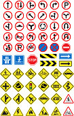 Road signs icons set. Vector illustration.