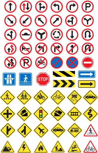 Straße Zeichen Symbole festgelegt. Vektor-Illustration. – Vektorgrafik