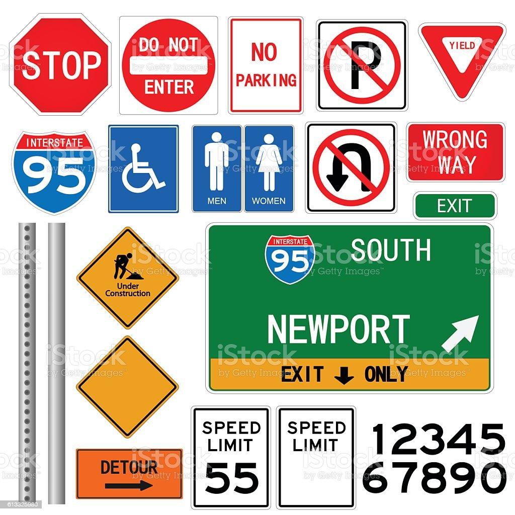 Vetores De Road Signs Illustration E Mais Imagens De Adulto Istock