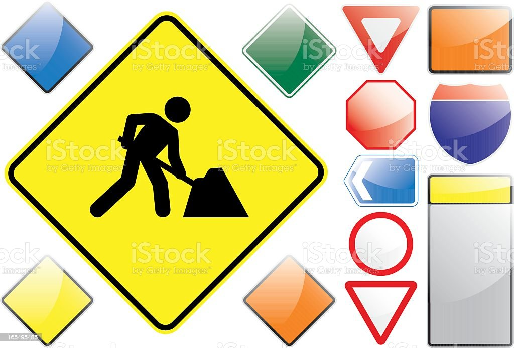 US Road Signs – Men at Work royalty-free us road signs men at work stock vector art & more images of construction industry
