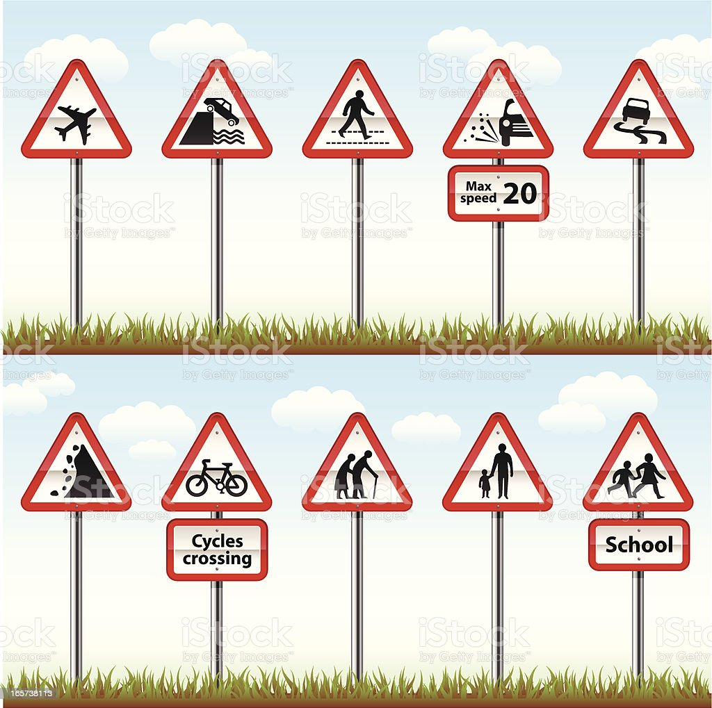 Road Signs On Posts (Warning Series) royalty-free stock vector art