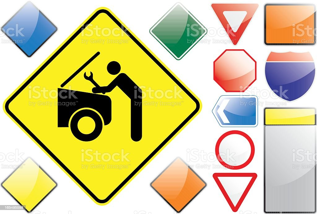 US Road Signs – Rapair Garage royalty-free stock vector art