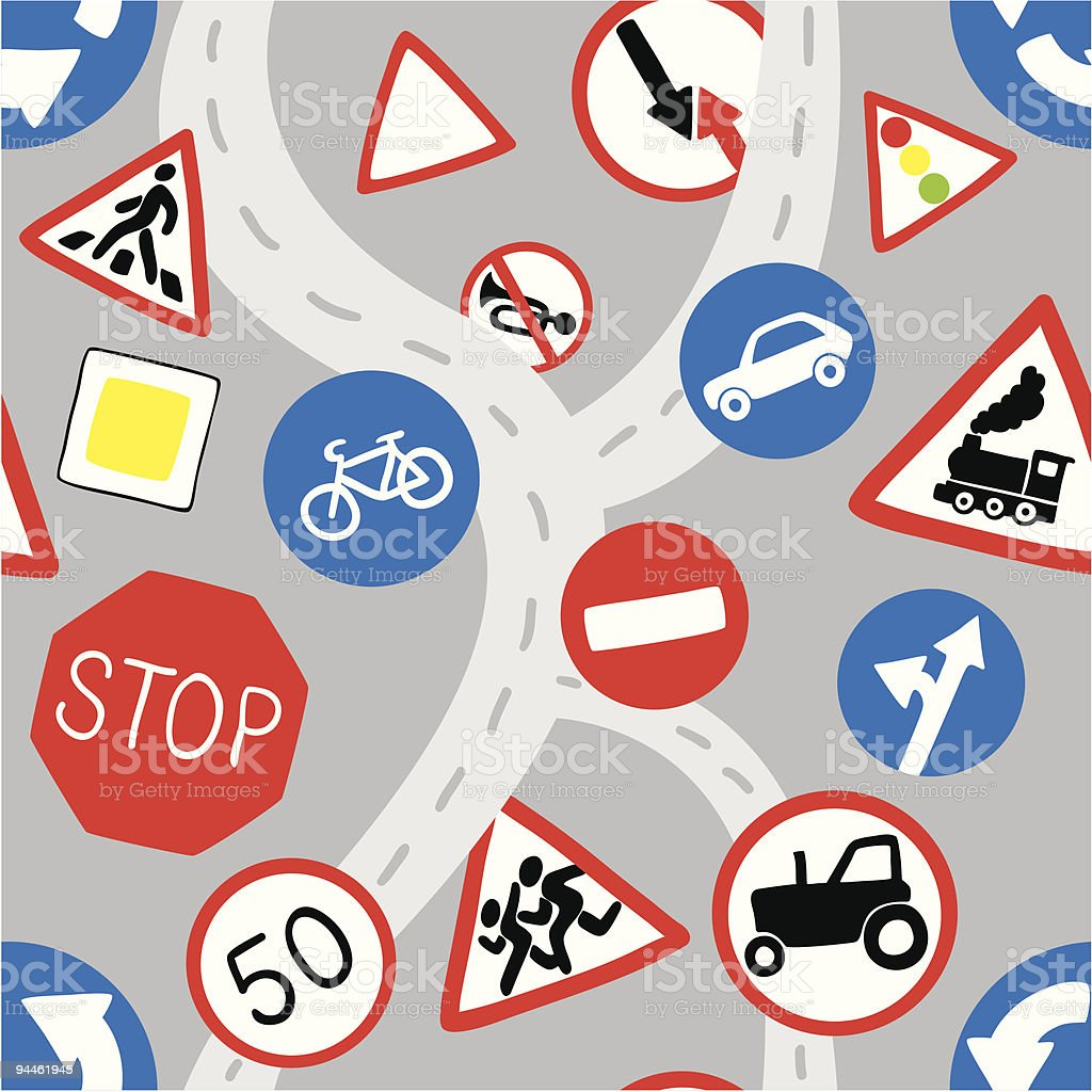 Road signs seamless pattern royalty-free road signs seamless pattern stock vector art & more images of art