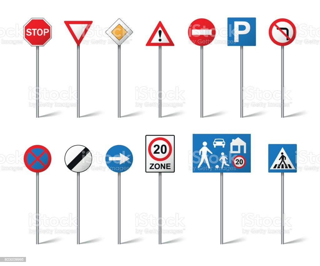 Road signs set isolated on white background. Vector illustration vector art illustration