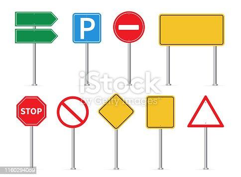 Road signs set. Vector illustration. on white background