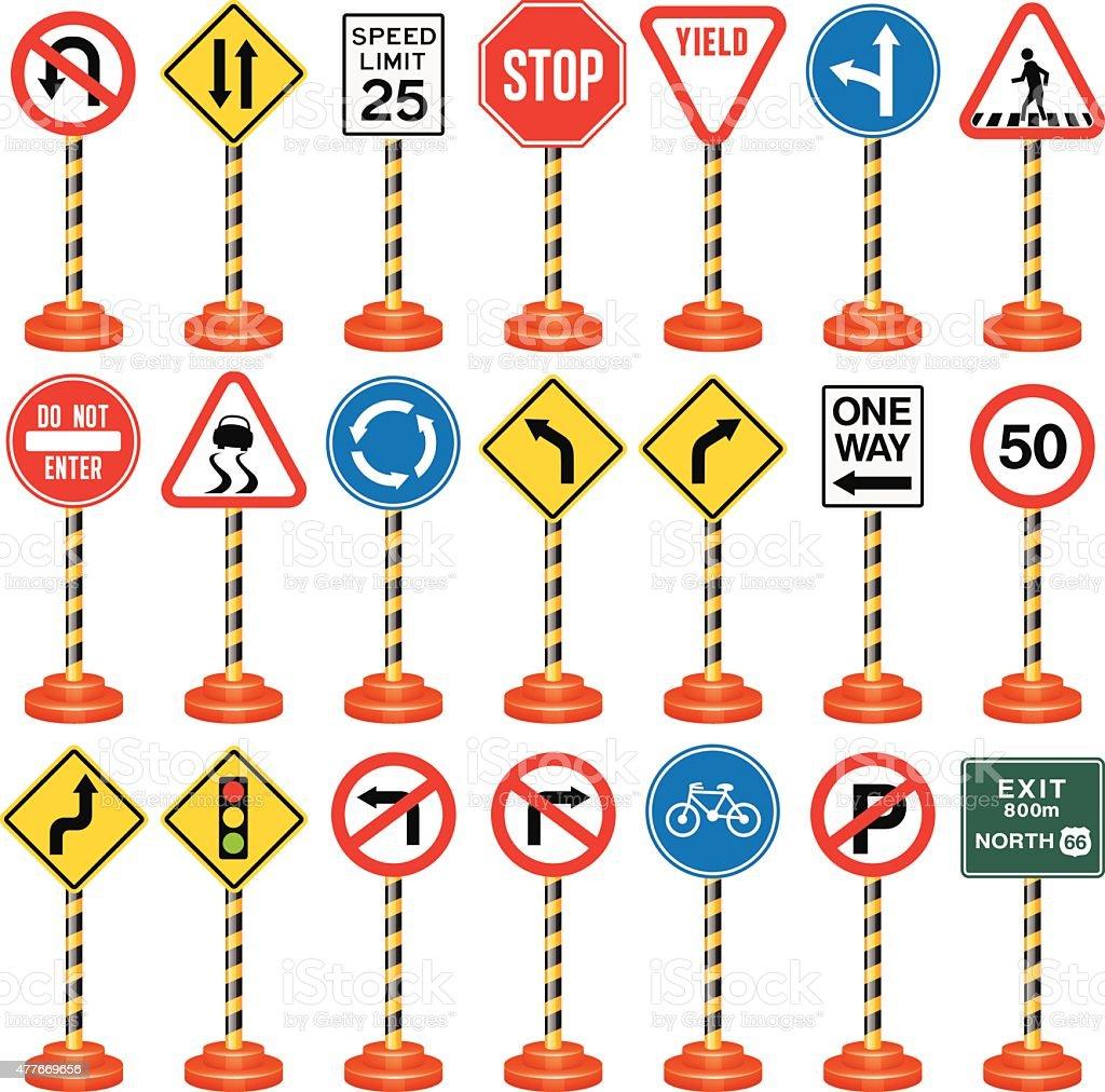 Ilustración de Road Carteles Señales De Tráfico Y Transporte De ...