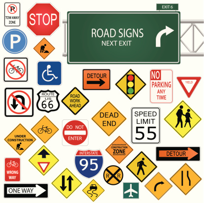 Road and traffic sign stock illustrations