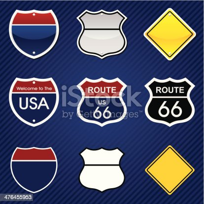 Road signs in different graphic styles on stripped background (another layer). PNG file (3056x3036 without background) is also included.