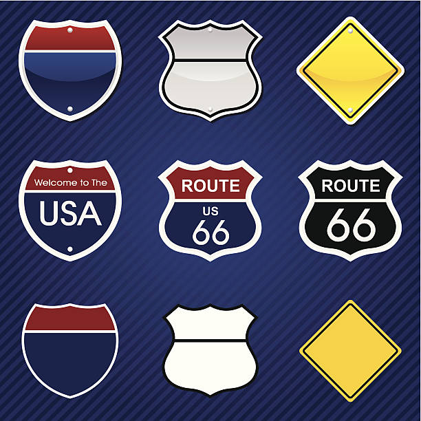 Road signs Road signs in different graphic styles on stripped background (another layer). PNG file (3056x3036 without background) is also included. highway stock illustrations