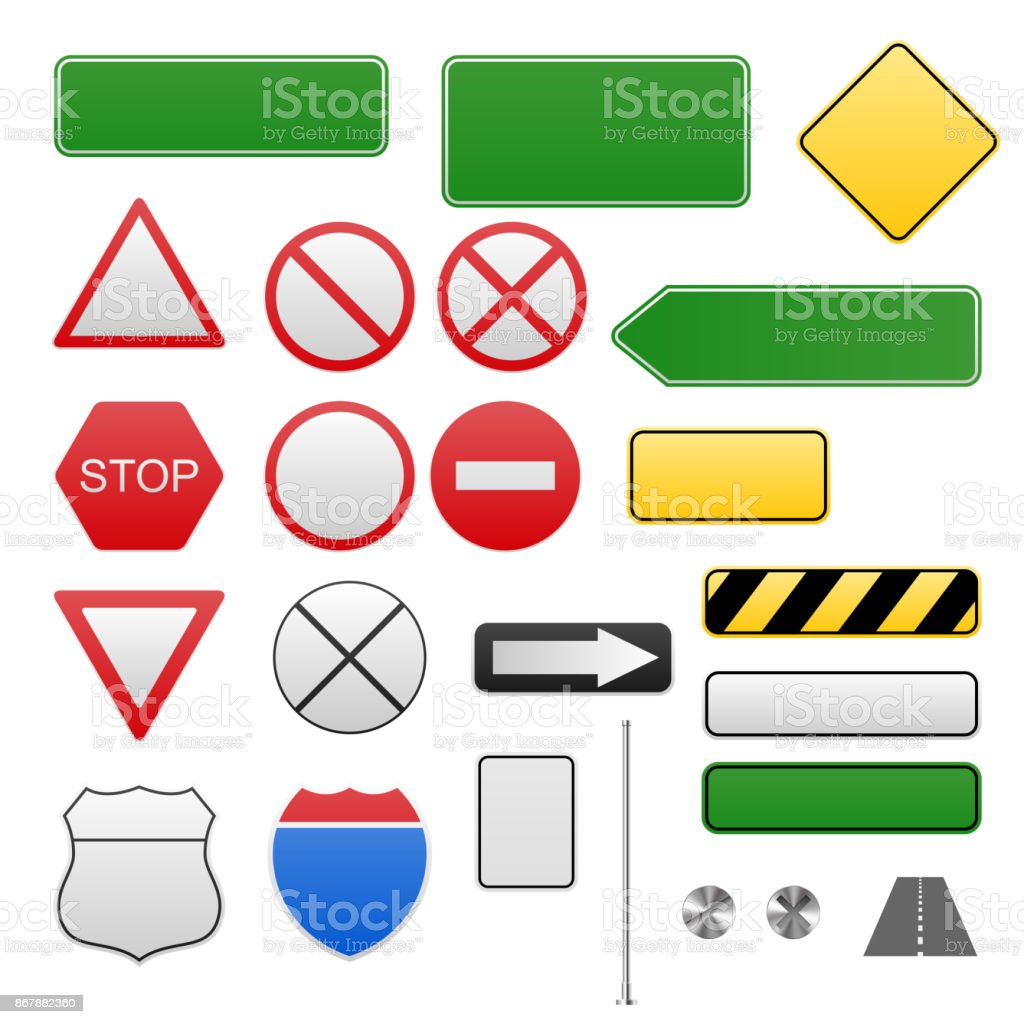 Road signs vector art illustration